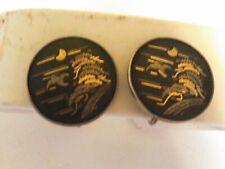 Screw Back Earrings Scenic Vintage Amita Japan Damascene