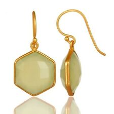 Natural Chalcedony Prehnite 18K Gold Plated 925 Sterling Silver Dangle Earrings