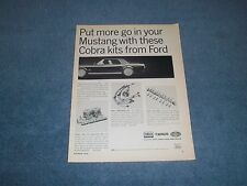 "1965 Ford 289 Cobra Kits Vintage Parts Ad ""Put More go in your Mustang..."""