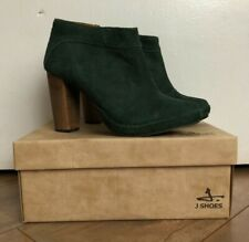 NIB J SHOES Women's Size 10 Poppy Ankle Zip Up Boots Booties Forest Green Heels