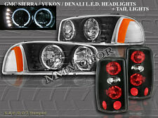 2000-06 GMC YUKON DENALI HALO HEADLIGHTS W/ LED BLACK + TAIL LIGHTS ALTEZZA BLK
