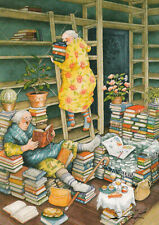 Postkarte: Inge Löök - Frauen räumen Bücherregale auf / Nr. 66