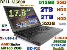 (17.3 Full-HD) DELL M6600 i7-EXTREME (BDRE 512GB-SSD+2TB+2TB 32GB) AMD-M6100