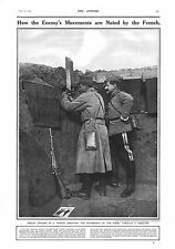 1915 ANTIQUE PRINT - WW1- FRENCH OFFICERS USING A TRENCH PERISCOPE