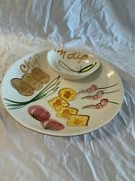 Los Angeles Pottery Hand Painted Serving Bowl Vintage Mid-century Chip & Dip