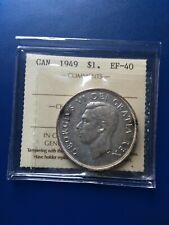 1949 Canadian Silver Dollar ($1), ICCS Graded EF-40, No Reserve!