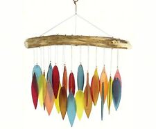 SANTA FE CHIMES, HANDCRAFTED DRIFTWOOD and COLORED GLASS LEAVES WIND CHIMES