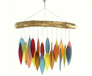 SANTA FE CHIMES, HANDCRAFTED DRIFTWOOD and COLORED GLASS LEAVES WIND CHIMES  #dm