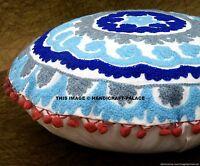 "Indian Suzani Ethnic Round Cushion Cover Covers Embroidery White Mandala 16"""