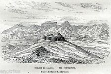 GUSPINI: Nuraghe Saurecci. Monreale. Medio Campidano.Sardegna.Stampa Antica.1887