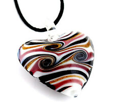 1pc Lampwork Glass Heart Pendant Necklace p0202