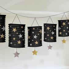 HOLLYWOOD Oro & Nero Stelle Lanterna Ghirlanda da appendere decorazione partito Bunting