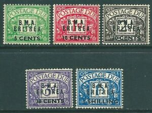 BRITISH MILITARY ADMINISTRATION ERITREA 1948 mint Postage Due SET SGED1-ED5