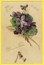cpa Illustration de 1905 Signée C. KLEIN Bouquet de VIOLETTES Fête Ste Marie