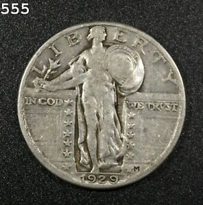 """1929 Standing Liberty Quarter """"Fine"""" *Free S/H After 1st Item*"""