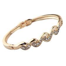 Twist Bracelet Bangle Wristband Jewellery Women's Gold Crystal Diamante 'Wave'