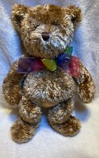 "Gund Brown Teddy Bear Rainbow Bow Bearessence 4890 16"" Plush Animal."