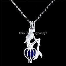 HK242 Beads Pearl Cage Fairytale Mermaid Locket Necklace Pendant Kid Girls Charm