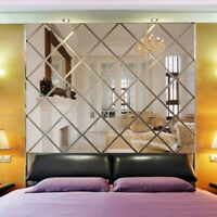3D Lozenge Mirror Acrylic Wallpaper Living Room TV Background Decor Wall Sticker
