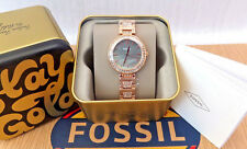 FOSSIL Ladies Karli Three Hand Rose Gold Tone Stainless Steel Watch BQ3422P New