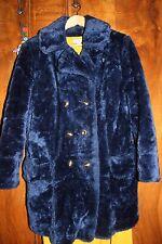 Roseanna Duncan Faux Fur Vintage Electric Blue Peacoat (M) orange lining 90s