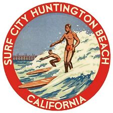 Surf City HUNTINGTON BEACH CA Vintage style  1960's Style Travel  Sticker  Decal