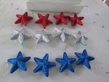 "12- 3"" Patriotic Red,Silver & Blue Glitter Star Ornaments - 4th of July, New"