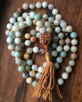 6mm Natural amazonite gemstones Mala knotted Necklace Buddhist Prayer Beads