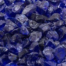 "Landscape Fire Glass 1/2"" 10 Lb Medium Cobalt Blue Tumbled Smooth Edge Tempered"