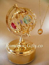 """Wizard of Oz Musical gold World Globe""""Over the Rainbow"""" & FABERGE Egg Necklace"""