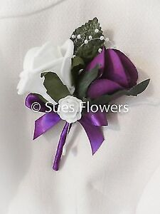 Luxury Double Buttonhole pin / corsage in Cadburys Purple and White