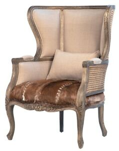 "33"" W Luce Occasional Chair Woven Rattan Detail Cowhide Leather Carved Wood"