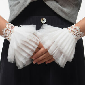 Victorian White Lace Pearl Wrist Cuffs Retro Elegant Wedding Bridal Bracelet