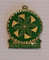 VINTAGE PICNIC POINT HIGH SCHOOL CREST METAL ENAMEL BADGE LAPEL MEDALLION PIN
