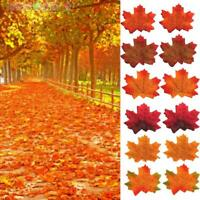 50PCS/Set Autumn Maple Leaf Fake Silk Dried Leaves Wedding Party Christmas DIY