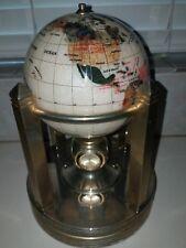 "Alexander Kalifano 6"" Gemstone World Globe Galleon Rotating Brass Stand & Clocks"