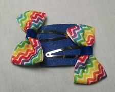 Rainbow Hair Clips Set Of 2 snap clips children's bows charity Accessories
