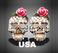 US Seller Betsey Johnson Halloween Crystal Sugar Skull Stud Earrings