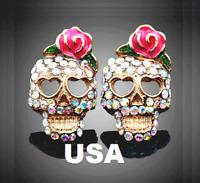 US Seller Betsey Johnson Halloween Crystal Sugar Skull Stud Earrings