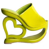 Retro Green Heart Heel Wedge Wedding Party Slip-ons Sandals Size 2.5/3/4/5/6/7/8