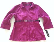 Willi Smith Skinny Belted Blouse Size XL Fuchsia Pink 3/4 Sleeve Shirt Belt NWT