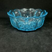 Blue Vintage Cut Pressed Glass Diamond Cut Scalloped Edge Small Serving Bowl