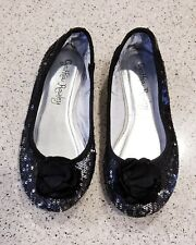 CYNTHIA ROWLEY Girl's Black Sequin Ballet Flats Size 1