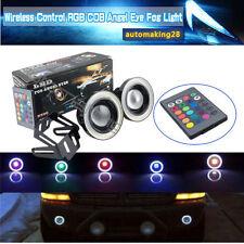 "3"" inch RGB LED COB Halo Rings Angel Eyes Fog Driving Light Wireless Control USA"