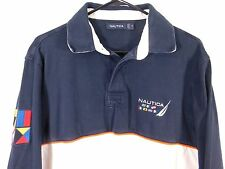 Nautica Challenge L/S Polo Rugby Sailing Shirt Men's Medium Embroidered Flags