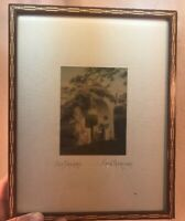 Vtg 1900's Signed FRED THOMPSON Day Dreams Victorian Tinted Photograph frame Art