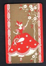 Vintage Swap/Playing Card - Deco Lady Picking Flowers - Gold Datail (LINEN)
