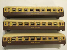 3x LIMA HO/OO BROWN & CREAM GREAT WESTERN 5016 MEDIUM SIZE COACHES no bogies
