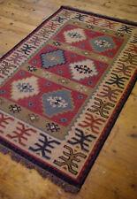Beautiful Traditional Rustic Jute Wool Kilim Rug 120 x 180cm Geometric Scandi