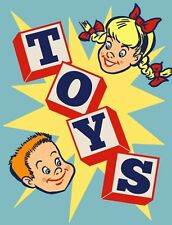 "TIN SIGN ""Toys"" Children Art Deco Garage Wall Decor"
